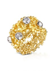 Orlando Orlandini Diamond 18K Yellow Gold Band Ring