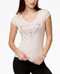 Guess Caviar Embellished Graphic T Shirt Pink Cloud
