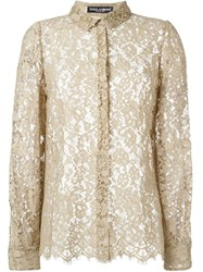 Dolce And Gabbana Sheer Floral Lace Shirt Nude And Neutrals