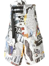 Ktz Newspaper Print Shorts Multicolour