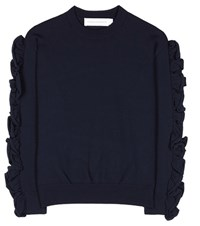Victoria Beckham Ruffled Sweater Blue