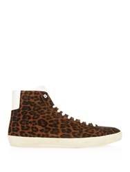 Saint Laurent Suede Leopard Print High Top Trainers