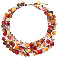 One Button Medium 3 Row Layered Mother Of Pearl Disc Necklace Multi