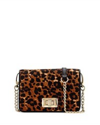 Neiman Marcus Leopard Print Calf Hair Crossbody Bag Natural Bl