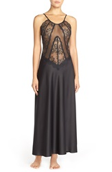 Flora Nikrooz 'Greta' Sheer Lace And Satin Nightgown Black
