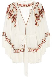 Talitha Kumari Embroidered Silk Crepe Wrap Jacket Ivory