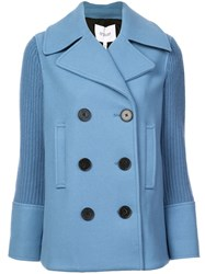 Derek Lam 10 Crosby Double Breasted Pea Coat With Knit Sleeves Blue