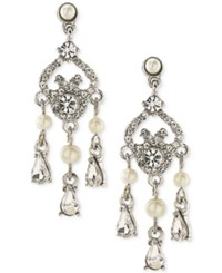 Carolee Silver Tone Crystal And Imitation Pearl Mini Chandelier Earrings