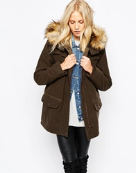 Parka London Marte Hooded Coat With Faux Fur Trim Green