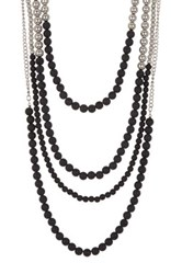 Madison Parker Multi Strand Two Tone Beaded Necklace Beige