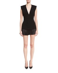 Brandon Maxwell Sleeveless V Neck Fitted Mini Dress Black