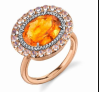 Irene Neuwirth One Of A Kind 18K Rose And White Gold Ring Set With Fire Opal 3.07 Cts Rainbow Moonstone 0.92 Cts And Pave Diamonds 0.125 Cts Multi