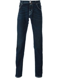Jacob Cohen Contrast Stitching Slim Fit Jeans Blue