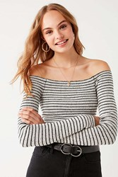 f2798e2550 Urban Outfitters Uo Shilo Off The Shoulder Striped Sweater Black