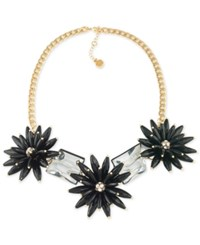 Trina Turk Gold Tone Black Flower And Crystal Nugget Statement Necklace