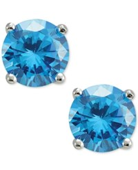 Giani Bernini Blue Cubic Zirconia Round Stud Earrings In Sterling Silver Only At Macy's