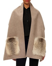 Gorski Wool Stole W Fur Patch Pockets Taupe