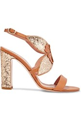 Red Valentino Redvalentino Sequined Leather Sandals Gold
