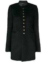 Saint Laurent Buttoned Military Coat Black