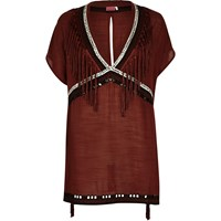 River Island Womens Brown Fringed Cover Up Kaftan