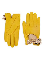 Valentino Studded Buckled Leather Driver Gloves Yellow