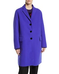 Marc Jacobs Notch Collar Button Front Wool Blend Mid Length Slim Caban Coat Violet