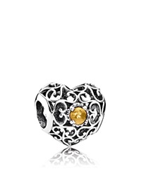 Pandora Design Pandora Charm Sterling Silver And Citrine November Signature Heart