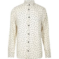 River Island Mens Cream Feather Print Casual Shirt