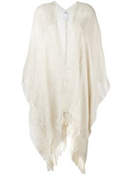 Brunello Cucinelli Long Fringed Cape Nude Neutrals