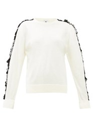 Bella Freud Lady Day Sequin Sleeve Wool Sweater Ivory