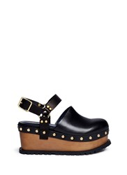 Sacai Wooden Wedge Stud Leather Clogs Black