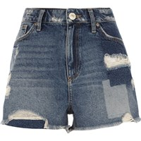 River Island Womens Mid Blue Wash Distressed Patch Denim Shorts