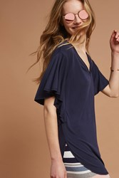 Anthropologie Flutter Sleeve V Neck Tunic Navy