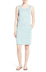 Barbour Women's Dalmore Stripe Jersey Sleeveless Shift Dress White Turquoise