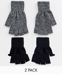 New Look Fingerless Gloves In Black And Grey 2 Pack