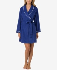 Eileen West Contrast Trimmed Terry Wrap Robe Navy