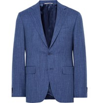 Canali Blue Travel Slim Fit Wool Silk And Linen Blend Suit Jacket Blue
