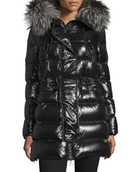 Moncler Aphrotiti Shiny Quilted Down Coat W Fur Hood Black
