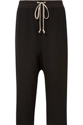 Rick Owens Cropped Cotton Jersey Trimmed Wool Blend Pants Black