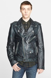 Blk Dnm '5 In Scratch' Distressed Leather Moto Jacket Blue Black