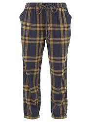 Ace And Jig Tommy Checked Cuffed Cotton Track Pants Navy Multi