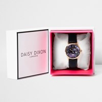 River Island Womens Daisy Dixon Black Floral Face Watch