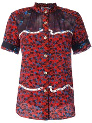 Coach Floral Print Shortsleeved Shirt Red