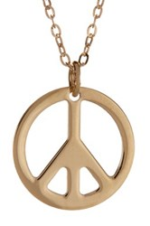 14K Yellow Gold Open Silhouette Peace Symbol Pendant Necklace Metallic