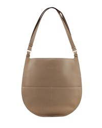 Valextra Weekend Large Leather Hobo Bag Taupe