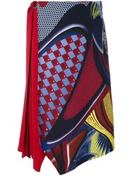 Versace 'Energy Wave' Asymmetric Midi Skirt Women Silk Acetate Viscose 42 Red
