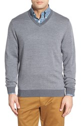 Men's Bobby Jones Merino Wool V Neck Sweater Charcoal