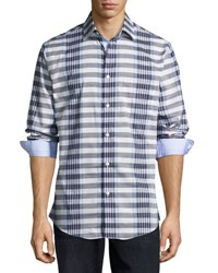 Neiman Marcus Regular Finish Cotton Checked Shirt Blue