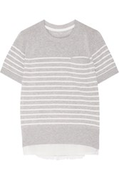 Sacai Satin Paneled Striped Cotton Top Gray