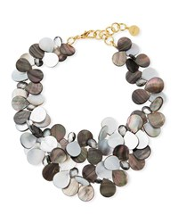 Nest Mother Of Pearl Cluster Bib Statement Necklace Gray